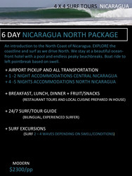 6 day Nicaragua Surf Trip Packages. 4x4 surf tours