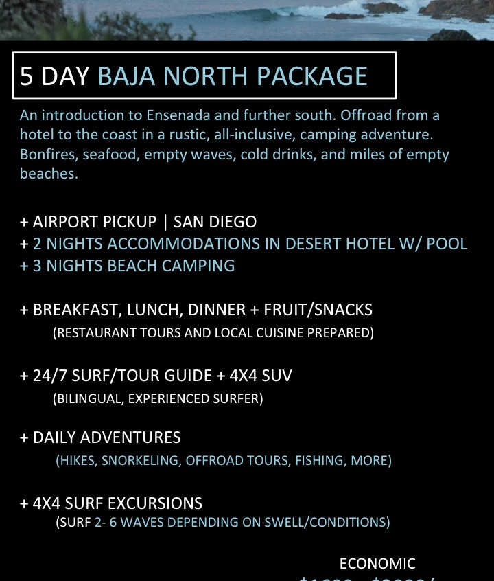 Baja California Surf Trip. 5 day all inclusive surf travel packages in Baja California.