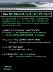 8 day Nicaragua Surf Trip Packages. 4x4 surf tours