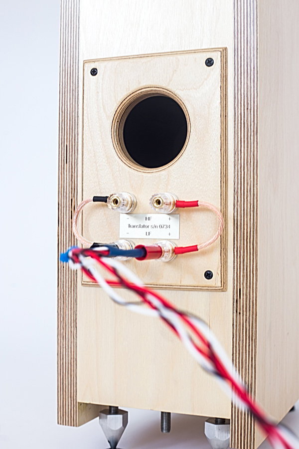 Translator rear panel, Baltic birch ply speakers, 1st order crossovers, hi end speakers,audiophile speakers,