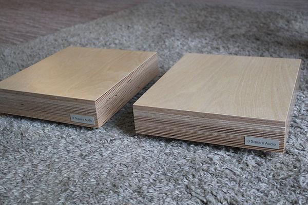 loudspeaker isolation, plywood isolation, birch ply isolation, loudspeaker plinths, speaker isolation supports
