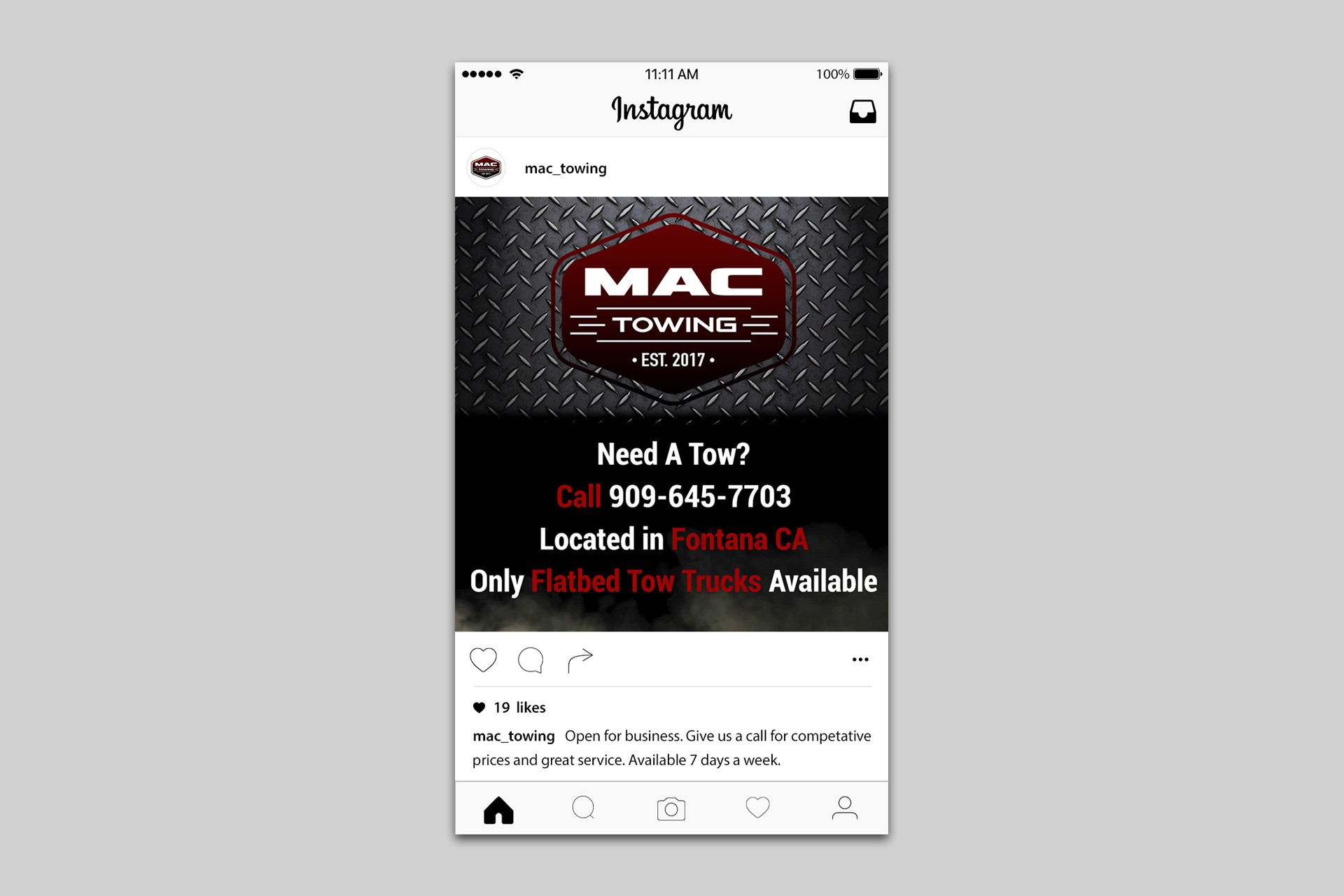 Mac Towing Instagram promorional post