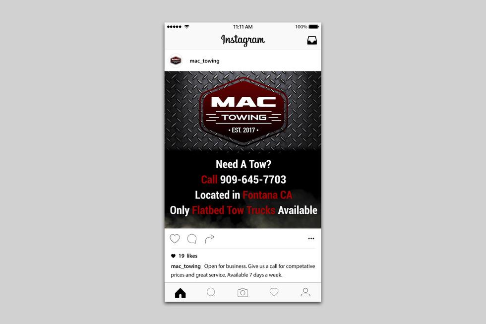Mac Towing Instagram promorional post