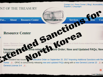 US Department of Treasury extends sanctions against North Korea