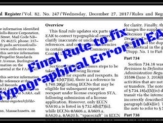 Final Rule to fix Typographical Errors in EAR