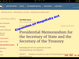 Authorization of Global Magnitsky Act by Trump Administration