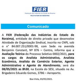 Comunicado Processo Seletivo 002-2021 -