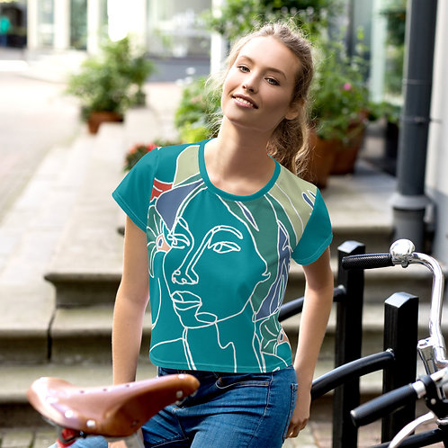 Grace - Continuous Line Portrait All-Over Print Crop Tee - Teal
