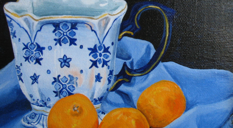 Blue Teacup with Tangerines
