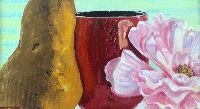 Pear, Red cup, and Flower