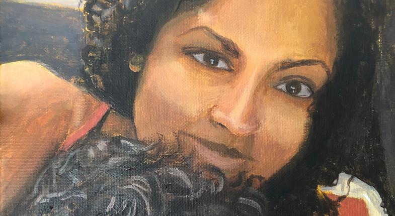 Self-portrait with Sleeping Lien