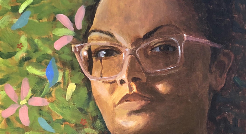 Self-Portrait with Floating Lilies