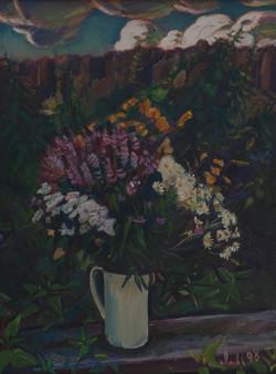 Деревня Горушка, цветы, вечер