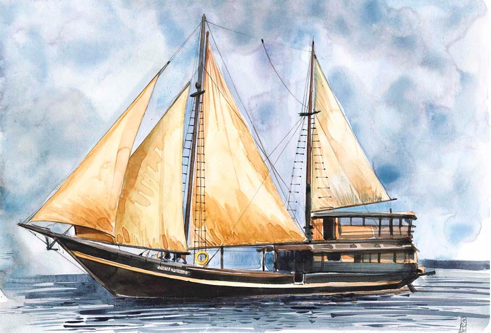 Dessin de bateau indonésien, Stéphanie Ledoux, Fondation Iris