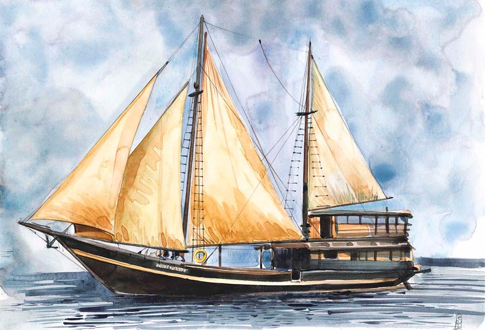 dessin de bateau à voile traditionnelde stephanie ledoux dans les iles de la sonde en indonesie