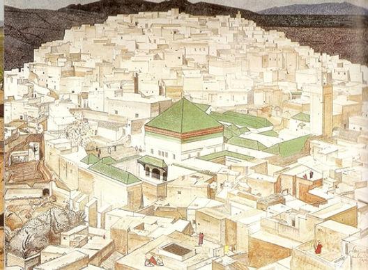 Moulay Idriss peint par Majorelle. Maroc