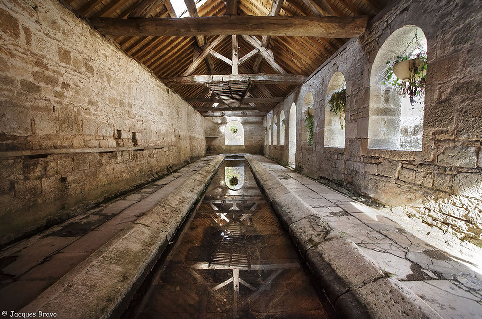 Le lavoir du village de Noyers-sur-Serein dans le département de l'Yonne en Bourgogne. Un des plus beau village de France. Photo de Jacques Bravo