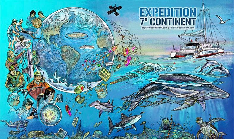 affiche expédition 7éme continent, dessin pollution plastique