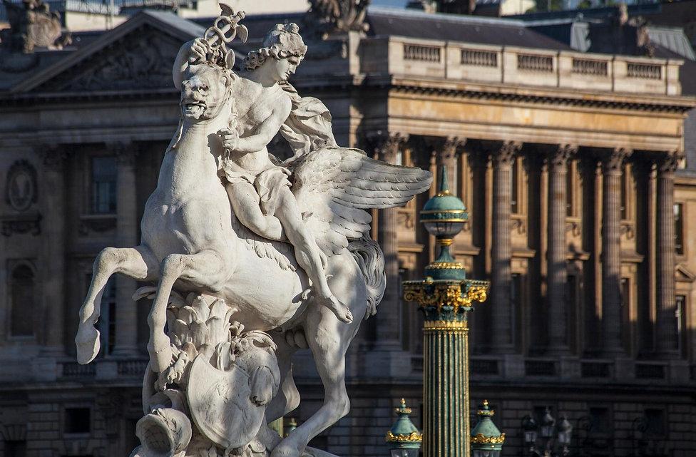 Mercure chevauchant Pégase par Antoine Coysevox, jardin des Tuileries