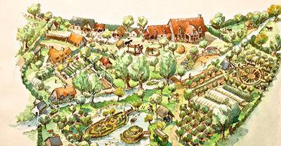 dessin représentant la ferme du Bec Helloin, fondation Iris
