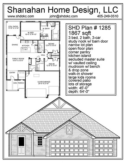 SHD Plan #1285 1867 sqft