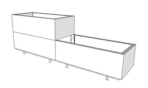 BEDD 160x40 cm h: 25-50 cm m/bunn og ben