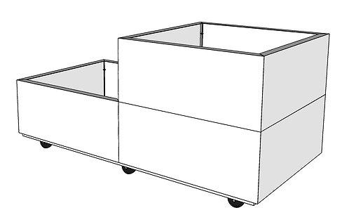 BEDD 120x60 cm h:25-50 cm m/bunn og hjul/ben