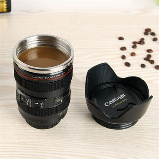 Wow! It looks just like a camera lens, but it is a novelty coffee travel mug. Shock and awe your friends when they see you drink from it.