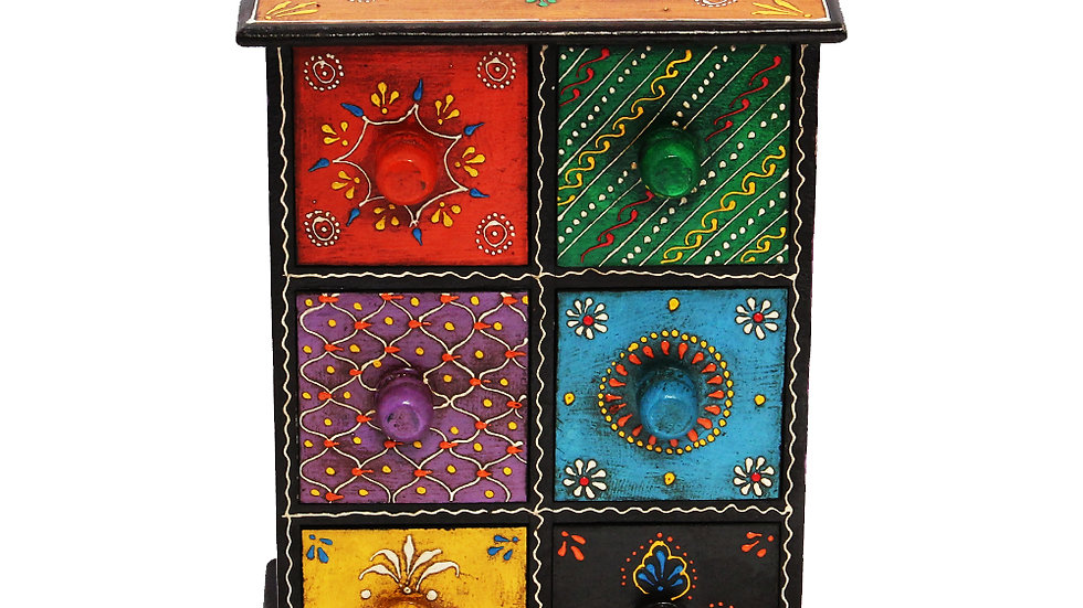 Multicolor Embossed Wooden Box