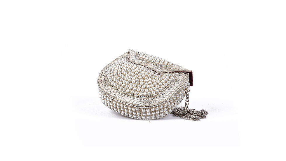 Metal and Pearl Clutch