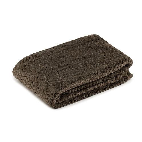 Fleece blanket, 100x150 cm, Dark Brown - Gozze Memphis