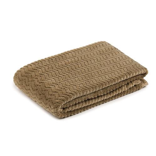Fleece blanket, 100x150 cm, Taupe - Gozze Memphis