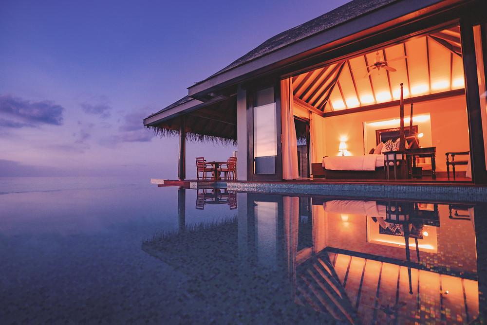 Anantara Kihavah Maldives Sunset Over Water Pool Villa