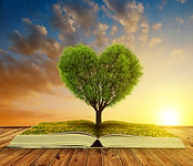 Book with a tree in the shape of heart a