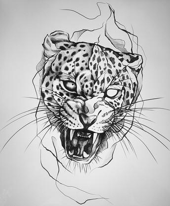 Leopard - Tattoovorlage