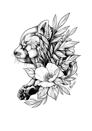 Roter Panda - Tattoovorlage