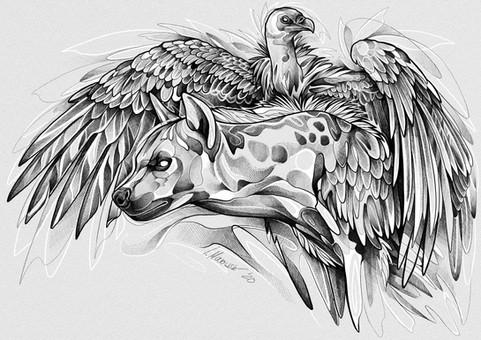 Hyäne & Geier - Zeichnung 2020
