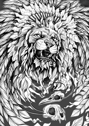 Löwe mit Federhaube - Work in Progress