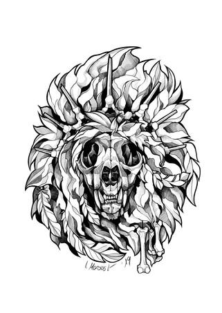 Schädel-Löwe - Tattoovorlage
