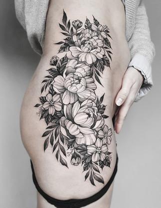 Roses / Peonies Blackwork