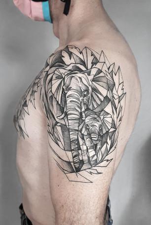 Blackwork Elefanten