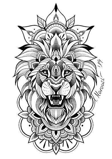 Tattoovorlage Löwe Mandala - Isabella Marowski