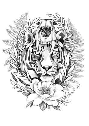 Tiger mit Schädel - Tattoovorlage
