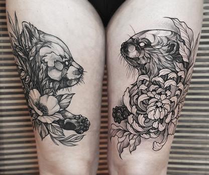 Red Panda & Otter Tattoo