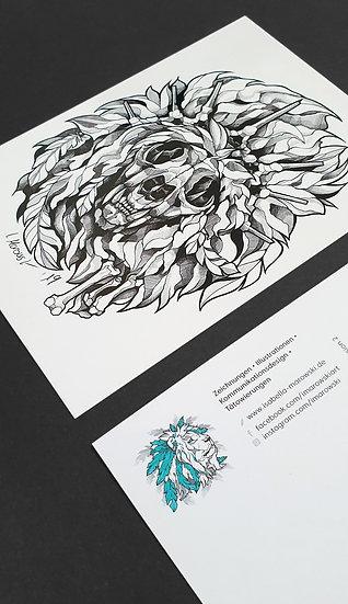 """Postkarte """"Schädel-Löwe"""""""