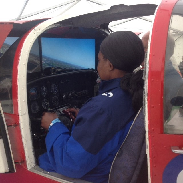 In the AOPA marquee at Aero Expo, ab initio flying...