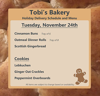 Tobi's Bakery Delivery Announcement Nove