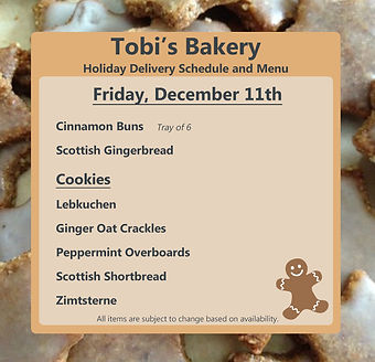 Tobi's Bakery Delivery Announcement Dece