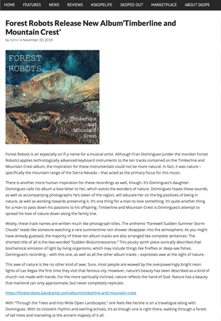 "Review of ""Timberline And Mountain Crest"" By Skope Magazine"