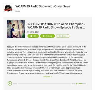 """""Follow The Towers To The Moon"""" Single Featured on WOAFM99 Radio Show With Oli"